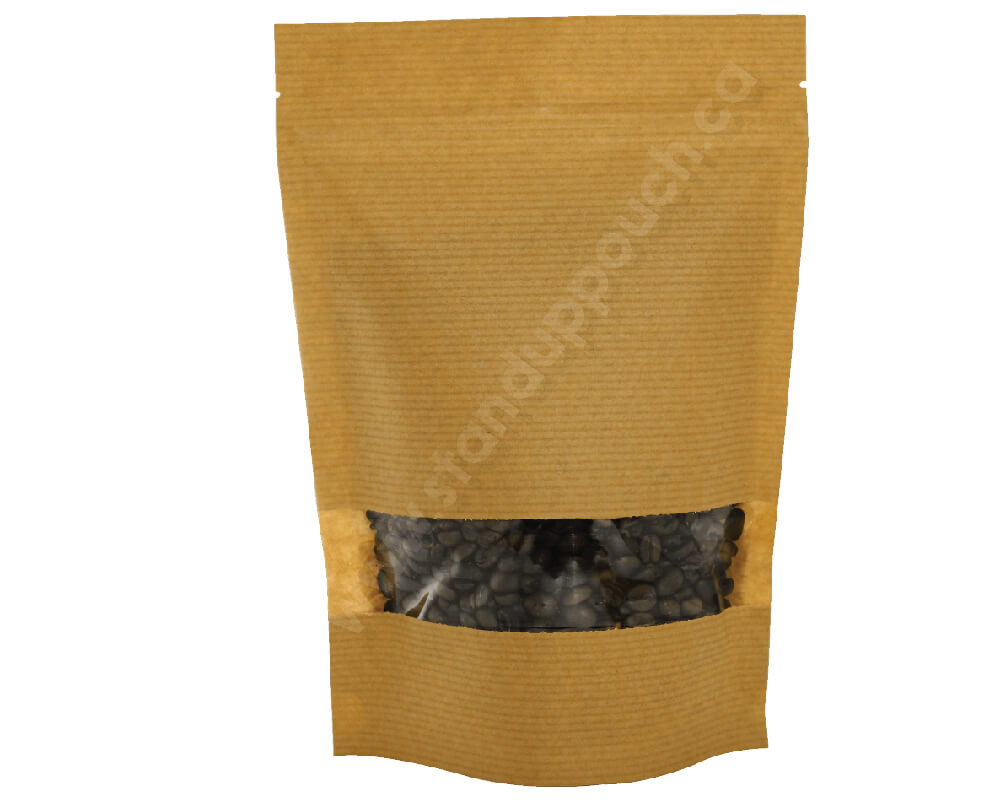 Brown stripped paper pouches with rectangle window
