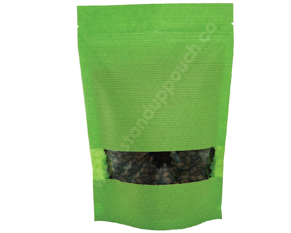 Green stripped paper pouches with rectangle window