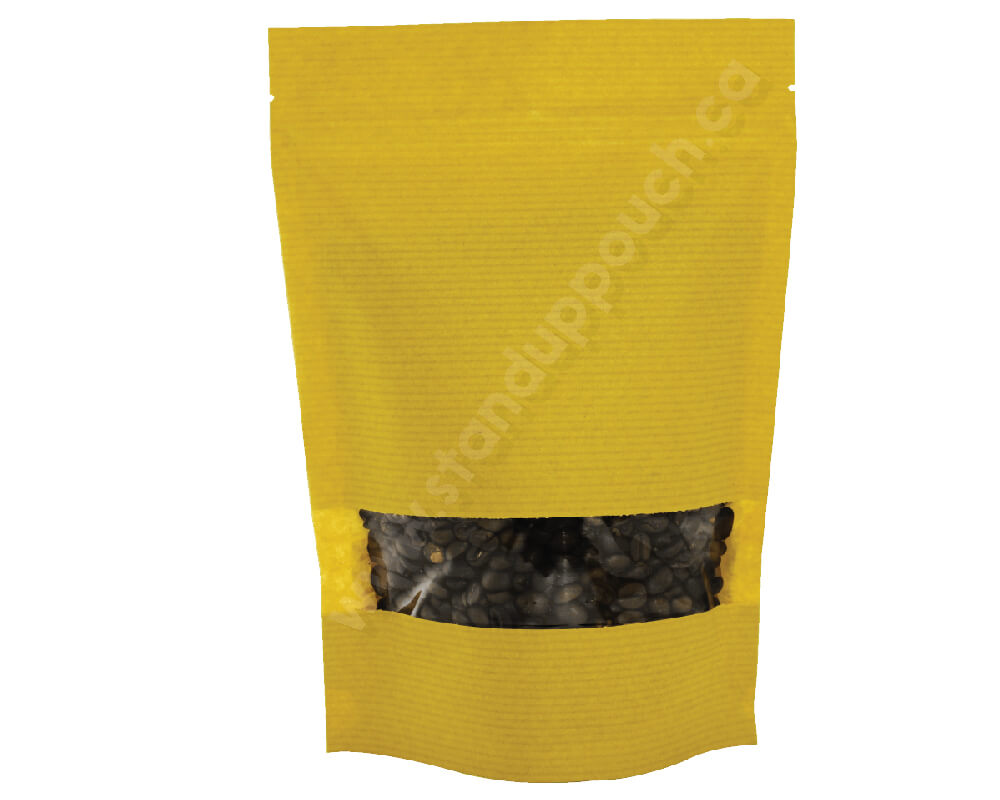Yellow stripped paper pouches with rectangle window