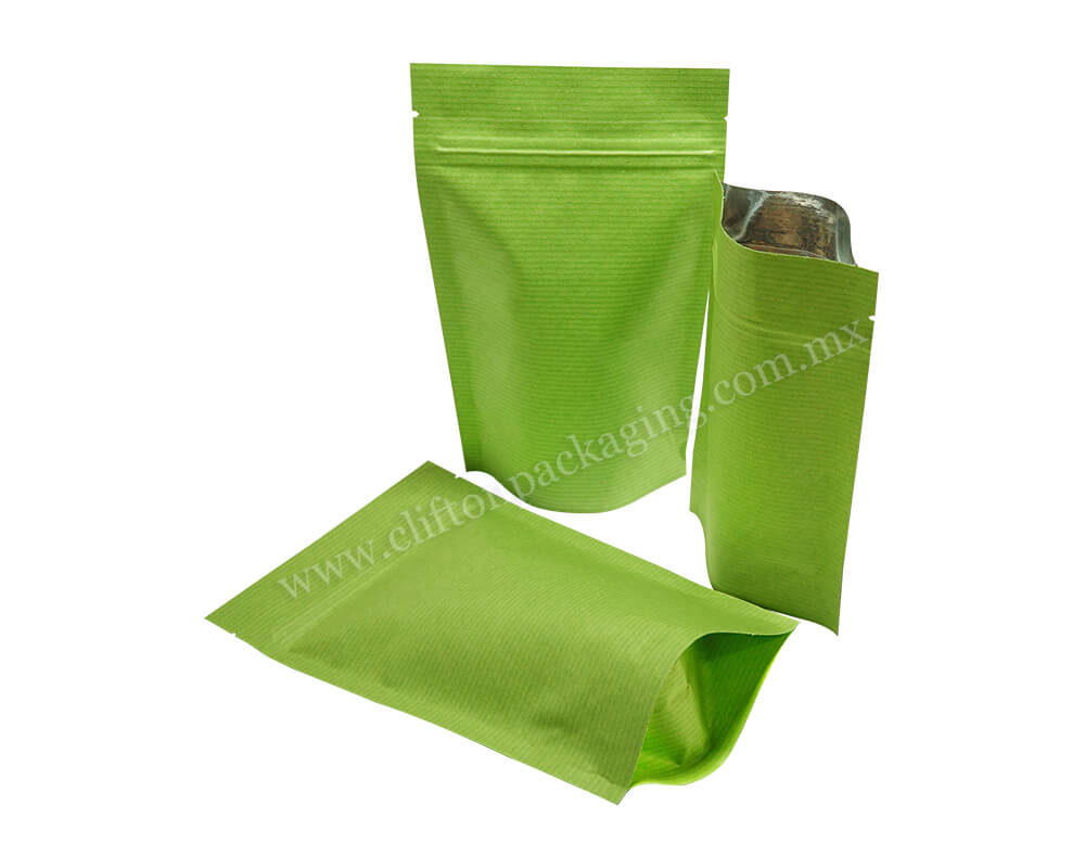 Green Stripped Paper Pouches