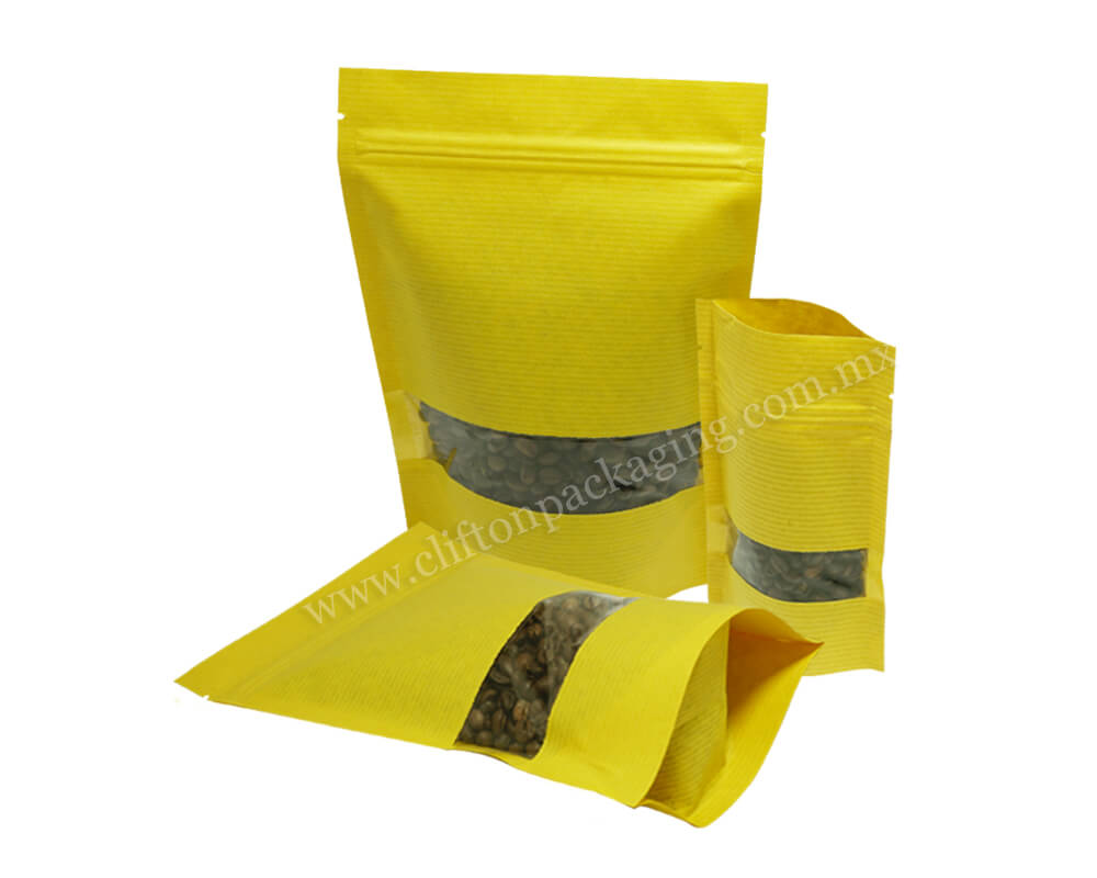 Yellow Stripped Paper Pouches With full Rectangle Window